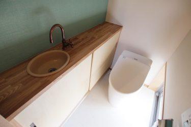 緑色のアクセントカラーの壁のトイレ