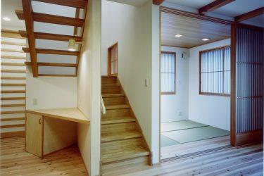 コンパクトな三角形のカウンター家事用デスクを階段下に