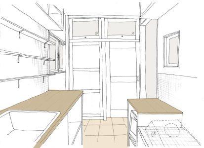 提案時のキッチン周辺のスケッチ