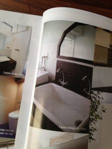 サンワカンパニーカタログvol.21に掲載した洗面台のチョコレート色のタイル