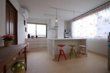 白の人工大理石、白塗装のシナの面材、シラス壁がつくるやさしい素材感のキッチン