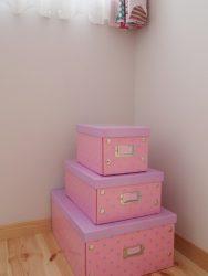 愛らしいピンクのボックスをインテリアに