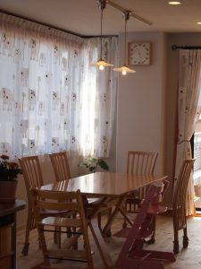 ゾウさんのフロントレースのカーテン+遮光シェード