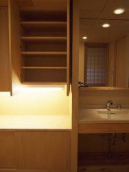 ボトルの洗剤などを置いておける高さのカウンターと上下の収納