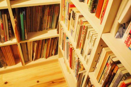 本の間下部は絵本や辞典、ファイルを収納できる深めの棚